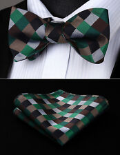 BC709ZS Check Brown Green Black Bowtie Men Silk Self Bow Tie handkerchief set