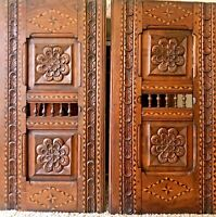 VINTAGE LATE 1800'S FRENCH OAK CARVED PANELS WITH INLAYS FROM BRETAGNE FRANCE