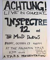 Dallas Texas 1980's Punk Band Flyer Inspectre 12 & Achtung! Arlington YMCA Flyer