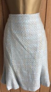LK Bennett Pale Blue and Gold Boucle Tweed Skirt Size 12