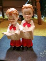 Vintage Christmas Choir Boys ceramic figurine Made In Japan H.I. Co. 1953