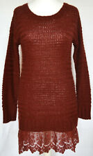 Next Rust Red Chunky Knit Jumper Dress with Lace Hem - 12