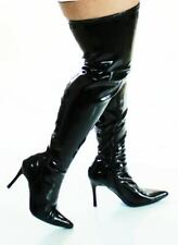 LUST 3000X BLACK PATENT WIDE FIT OVER THE KNEE/THIGH BOOTS SIZE 10UK/13US