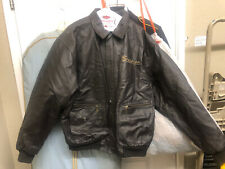 Vintage Snap On Tools Leather Brown Bomber Jacket XL