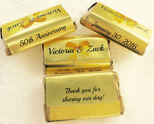 180 GOLD FOIL 50th 60th ANNIVERSARY personalized wrappers For HERSHEY MINIATURES