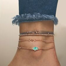 Anklet Chain Rope Women Jewelry 4pcs/Set Lucky Eye Hand Beaded Bracelet