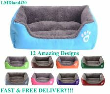 Soft Washable Deluxe Dog Bed Pet Cushion Warm Basket Fleece Lining S-XXL NEW
