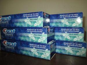 Lot of 6 Crest 3D White MILD MINT Toothpaste 4.8 oz Exp. 4/21