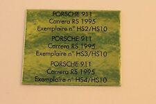 RG Heco modeles 1 étiquette autocollante numéroté Porsche 911 carrera RS 1995