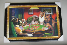 """DOGS PLAYING POKER framed POSTER """"READY TO HANG"""" BLACK WOODEN FRAME"""