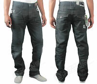 MENS NEW JEANS EZ126 DARK BLUE COATED STRAIGHT FIT DESIGNER PANT SIZES 28 TO 40