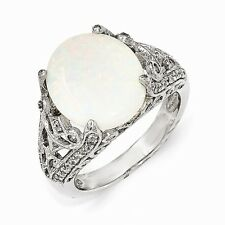 Cheryl M Sterling Silver CZ and Opal Ring Size 8 #960