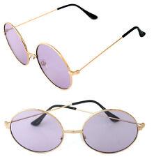 Women's Round Shape Designer Gold Metal Frame Sunglasses Retro Purple Lenses