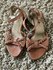 Ladies Brown ECCO Leather Sandals Plaited Detail Size 38 5