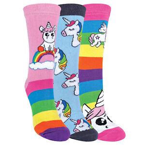 Unicorn Rainbow Striped Socks for Women | 3 Pack | Fun Novelty | Cotton Rich