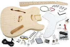 Solo Tele Semi Hollow Style DIY Guitar Kit, Basswood Body, Maple Top, TCK-100