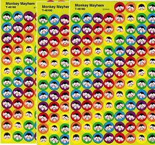 3 sheets MINI Funny Monkey Mayhem FACES Scrapbook Stickers! 300 Stickers!
