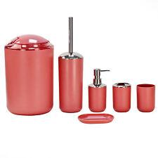 6pc Bathroom Accessory Set Soap Dish Bath Bin Tumbler Toilet Brush Holder Red