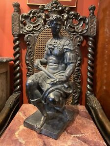 Grand Tour Style Plaster Italian Statue of Giuliano De' Medici After Michelangel