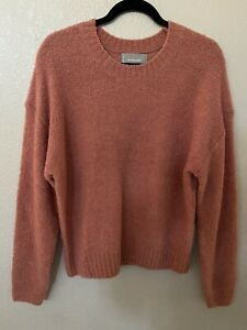 New EVERLANE Women's The Teddy Wool Blend Crew Neck Sweater In Coral Size L