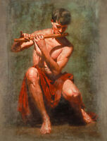 Oil painting nude strong young man playing flute free shipping no framed canvas
