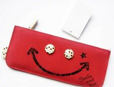 CUTE Girls Womens Fashion Smile & Love Make Up Pouch Pencil Case Great Gift Red