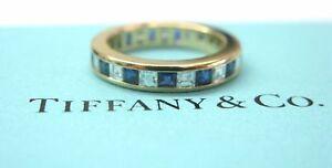 Tiffany & Co Blue Sapphire & Diamond Eternity Band Yellow Gold 1.40CT SZ 4.25