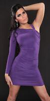 Sexy Purple Mini Dress BodyCon Stretch Shirred Asymmetric One Arm Party S/M