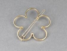 Gold flower barrette daisy flower outline shape metal hair clip barrette