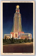 The State Capitol Building at Night Baton Rouge, Louisiana Linen Postcard Unused