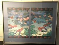 "Framed Glicee Art Print Signed by Kay Stowe? Koi Fish Pond Framed 28"" x 22"""
