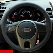 Anti Slip Black Leather Hand Sewing Steering Wheel Cover For Kia Forte 2014