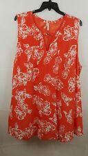 True Destiny Women Plus Coral/White Floral Peasant Boho Dress Size 3X NEW