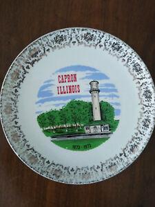 """Vintage Porcelain Collector Plate 9"""" CAPRON ILLINOIS 1873-1973 Gold Trim T&J USA"""