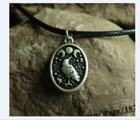 Triple Moon Raven Goddess Oval Pendant Necklace crow pagan witch witchcraft