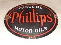 """VINTAGE PHILLIPS 66 GASOLINE MOTOR OILS 12"""" PORCELAIN METAL OIL SIGN! PUMP PLATE"""