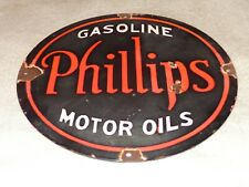 "VINTAGE PHILLIPS 66 GASOLINE MOTOR OILS 12"" PORCELAIN METAL OIL SIGN! PUMP PLATE"