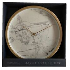 Marble Effect Wall Mounted Clock with Gold Rim Contemporary Home Decor