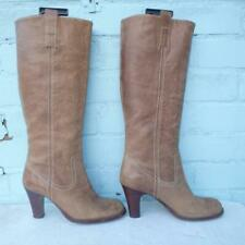 Faith Leather Boots Uk 5 Eur 38 Womens Sexy Pull on Distressed Shoes Brown Boots