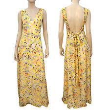 ADAM ADAM LIPPES Yellow Floral Silk Summer Dress Open-Back Drawstring Maxi 4~NWT