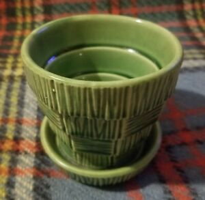 """Nelson McCoy Small 3 1/8"""" Green Basketweave Tiered Flower Pot Great Condition"""