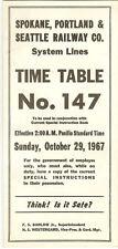 Spokane Portland & Seattle Railway Co. Time Table 147 Oct. 29, 1967