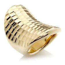 BELLEZZA YELLOW BRONZE FACETED DIAMONDCUT CONCAVE RING SIZE 5 HSN