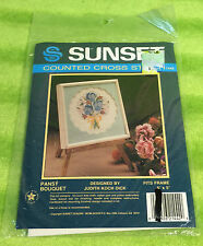 Sunset Counted Cross Stich Kit 1442 Pansy Bouquet Judith Koch Dick - NEW