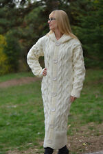 DUKYANA Hand Knitted WOOL CARDIGAN no Mohair coat Long Thick Jacket cable coat L