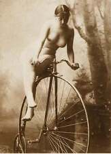 ANTIQUE FRENCH BIG WHEEL BIKE NUDE WOMAN VINTAGE BICYCLE OF CLASSIC PHOTO