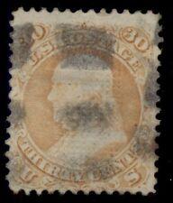 "US #100 30¢ orange, ""F"" Grill, used, Miller certificate, scarce, Scott $1,000.00"