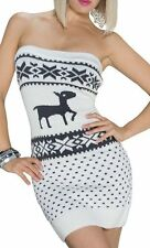 SeXy Damen Bandeau Strick Mini Kleid Norweger Muster 34/36/38 weiß grau TOP NEU