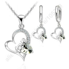 Love In Heart Silver Cubic Zircon Earring and Necklace Set, SS-100
