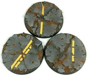 Industrial Road- Round Resin Bases 60 mm - 3 Painted/Unpainted Bases Warhammer